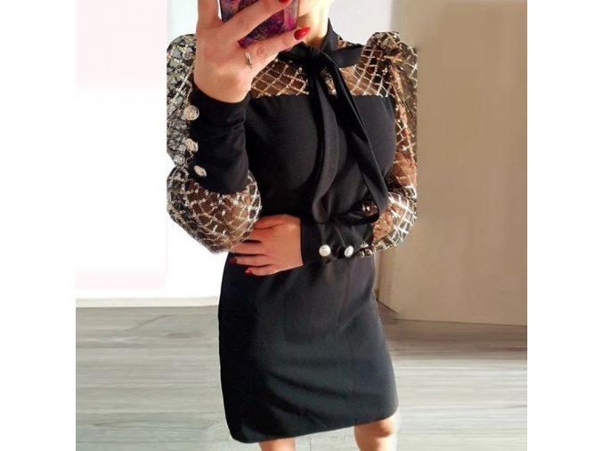 Dámske spoločenské šaty s naberanými rukávmi