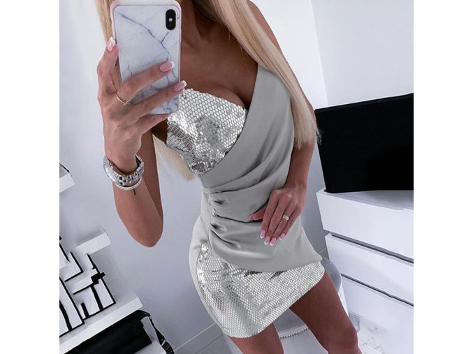 Luxusné strieborné trblietavé party šaty (Velikost L)