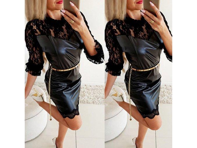 Dámske luxusné koženkové spoločenské šaty