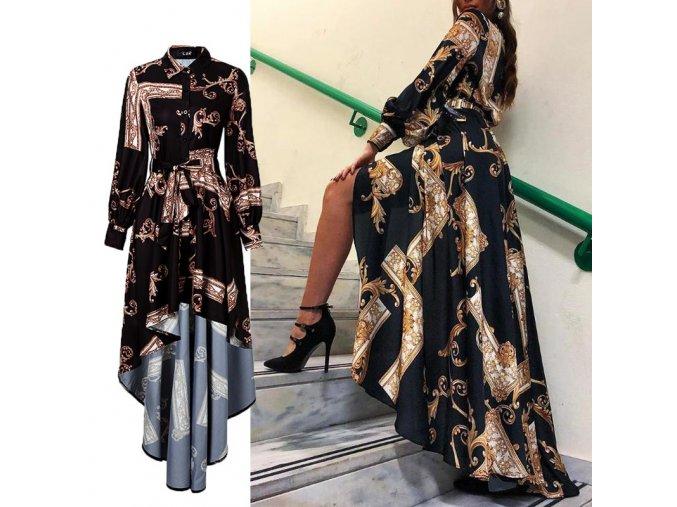 Luxusné čierne asymetrické šaty s ornamentami
