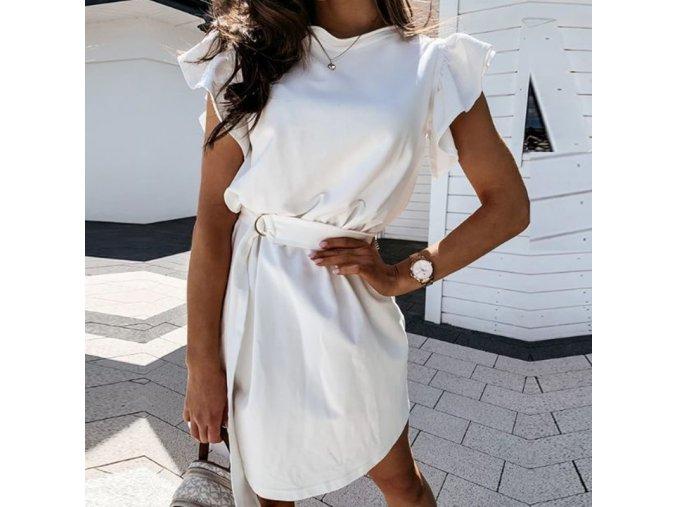 Letné šaty s volánikovým rukávom a opaskom