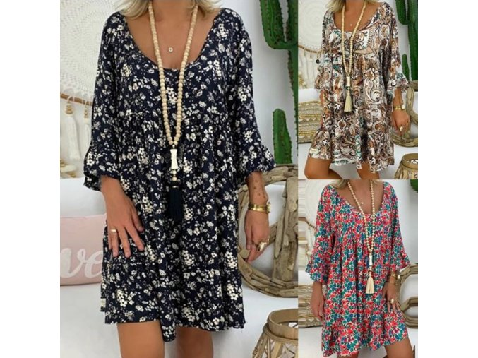 Luxusné letné šaty - 3 vzory až 5XL