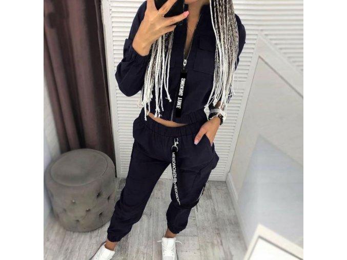 TIP - dámska módna súprava nohavice + bunda na zips