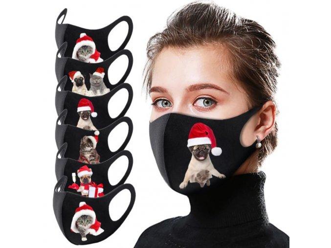 Rúška - čierne vianočné rúško s roztomilou potlačou psíkov a mačiek
