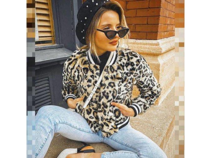Dámska jarná bunda s leopardím vzorom v bomber štýle