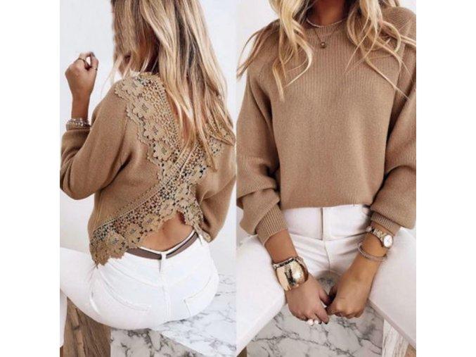 Dámsky módny sveter v béžovej farbe s odhaleným chrbtom zdobené čipkou