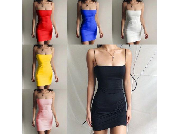 Puzdrové midi šaty so špagetovými ramienkami vo viacerých farbách
