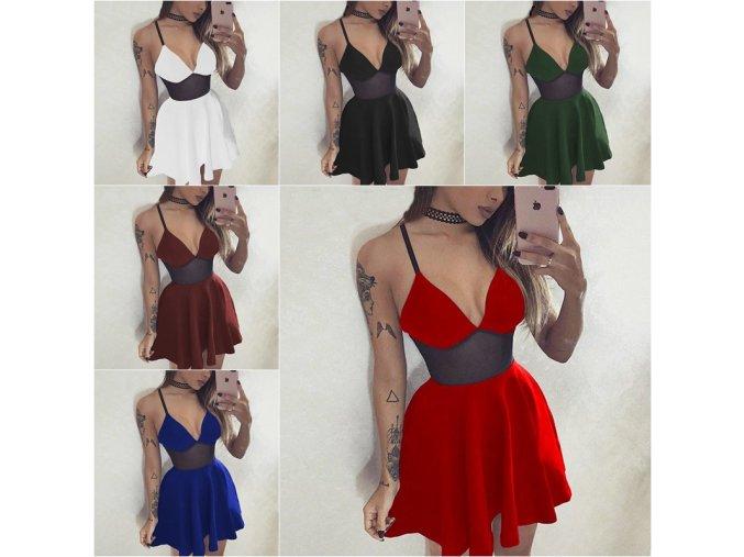 Dámske sexy šaty so stiahnutým pásom vo viacerých farbách - až 3XL