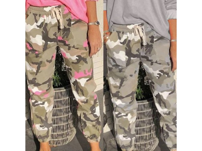 Dámske voľné maskáčové nohavice s vreckami v dvoch farbách