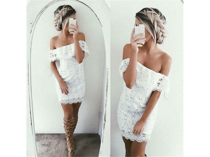 Luxusní krajkované šaty s volánkem (Velikost XL)