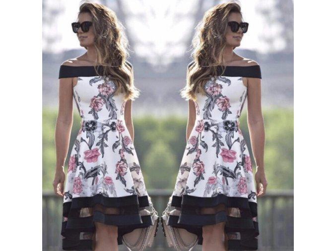 Luxusné dámské šaty s kvetmi