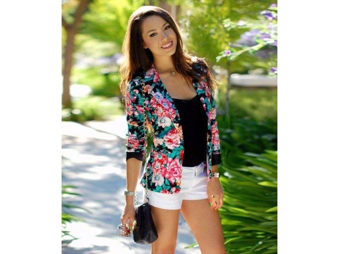Kvetinový dámsky kabátik