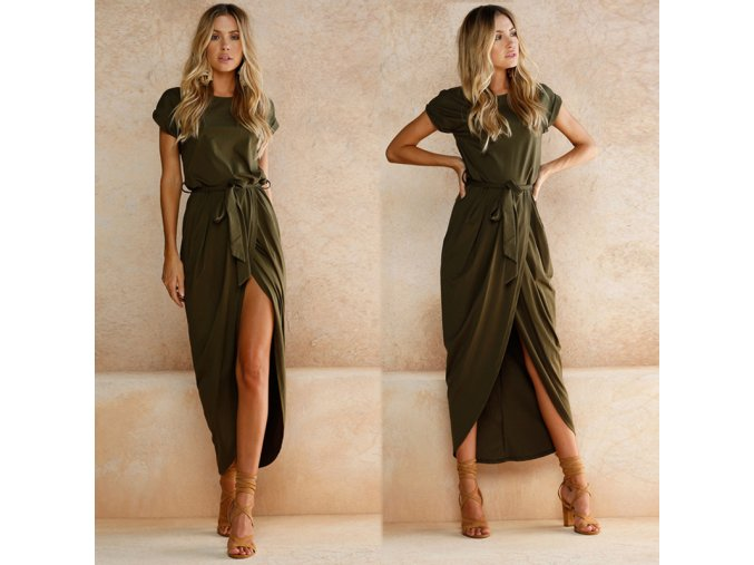 Asymetrické dlhé letné šaty - rôzne farby