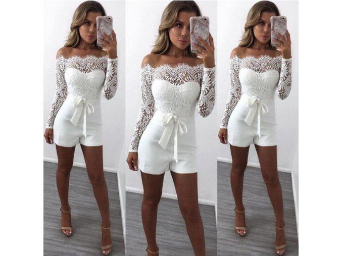 Luxusný krajkovaný biely overal