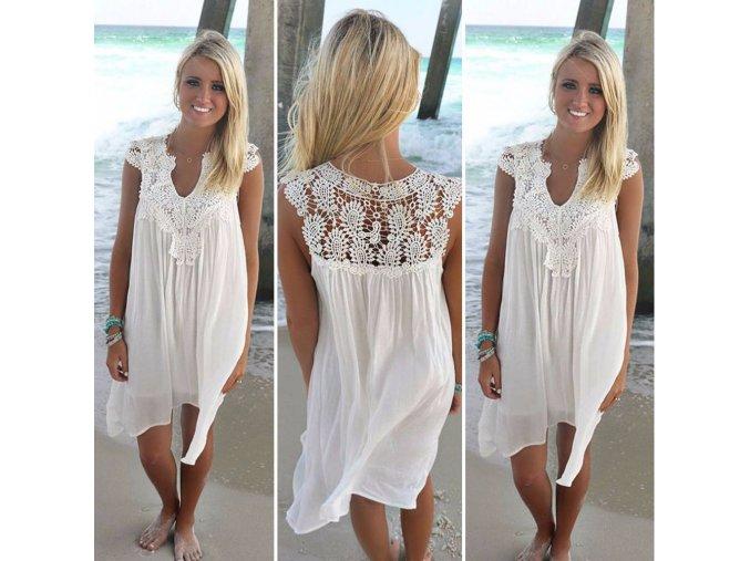 Príjemné letné šaty - biela a béžová