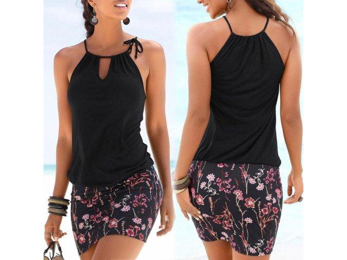 Čierne šaty s kvetmi bez rukávov