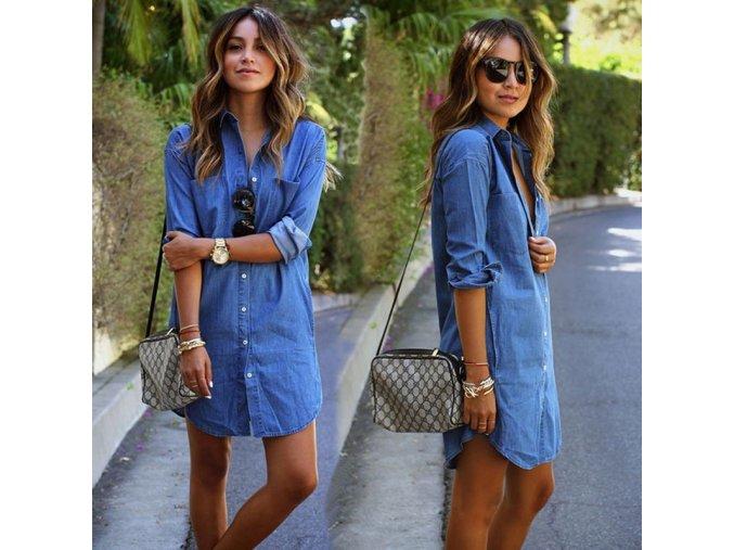 Košeľové džínsové šaty