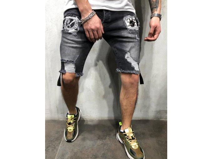 Čierne pánske džínsy s dierami