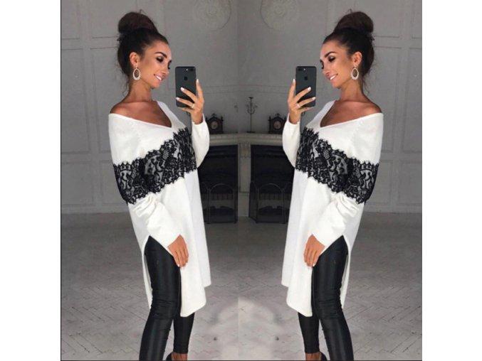 Dlhý bavlnený sveter s čipkou