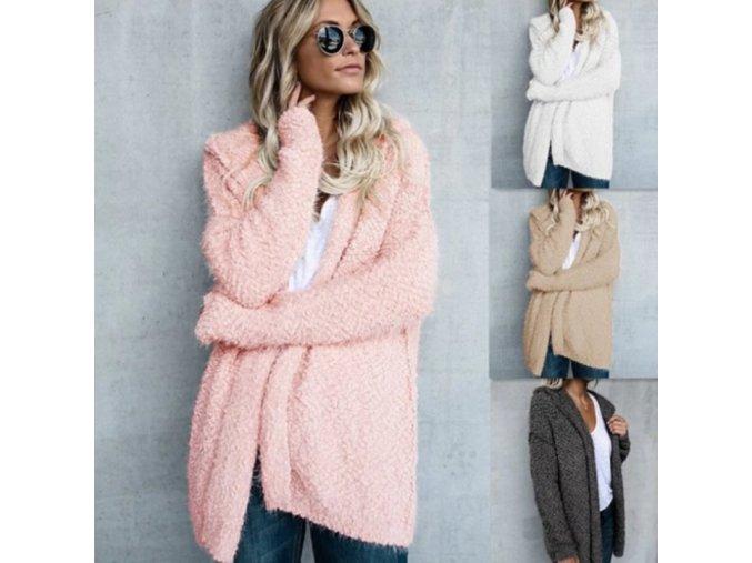 Dámsky jesenný huňatý kabátik