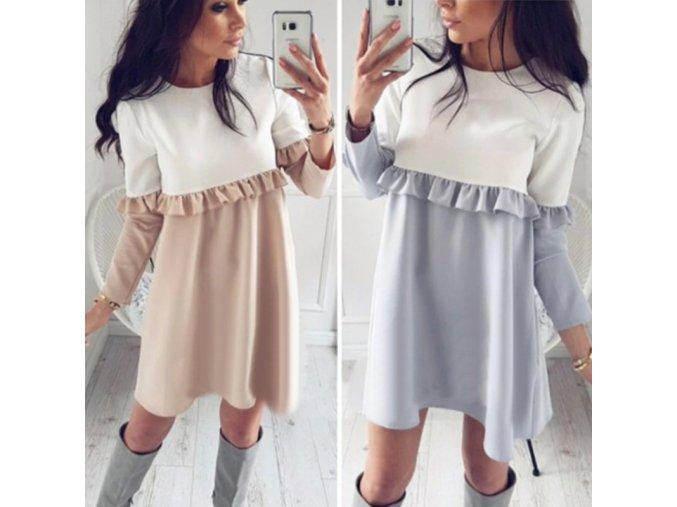 Dvojfarebné šaty s volánom