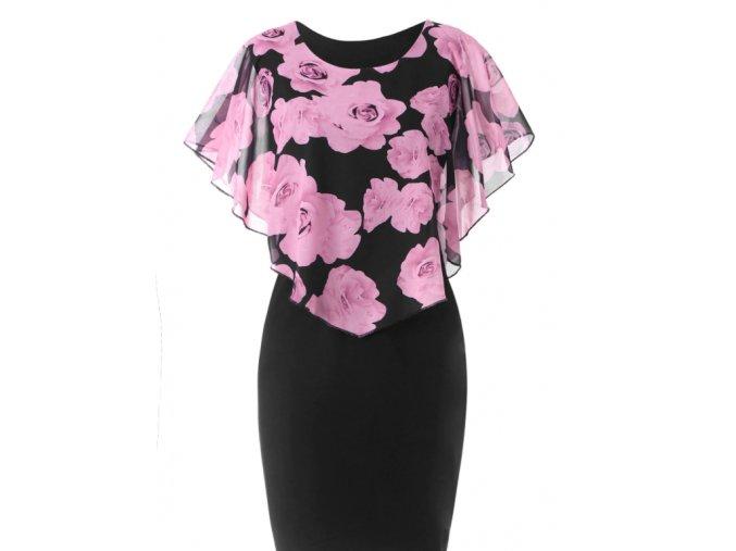Plus size elegantné šaty s kvetinovým vzorom