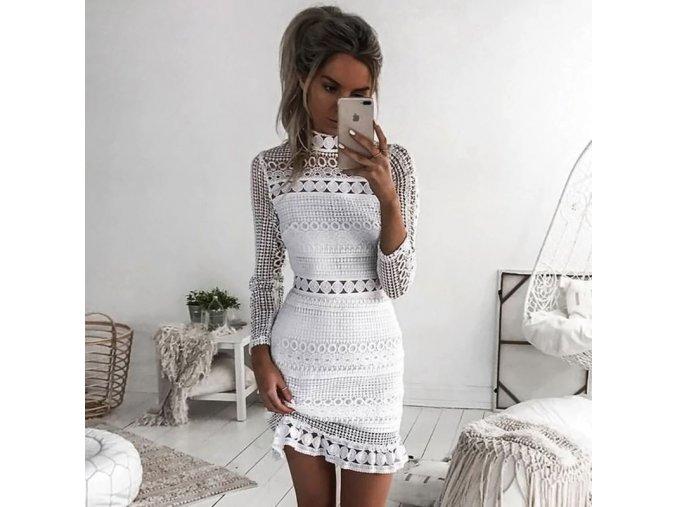 Dámske štýlové krajkové šaty s dlhým rukávom