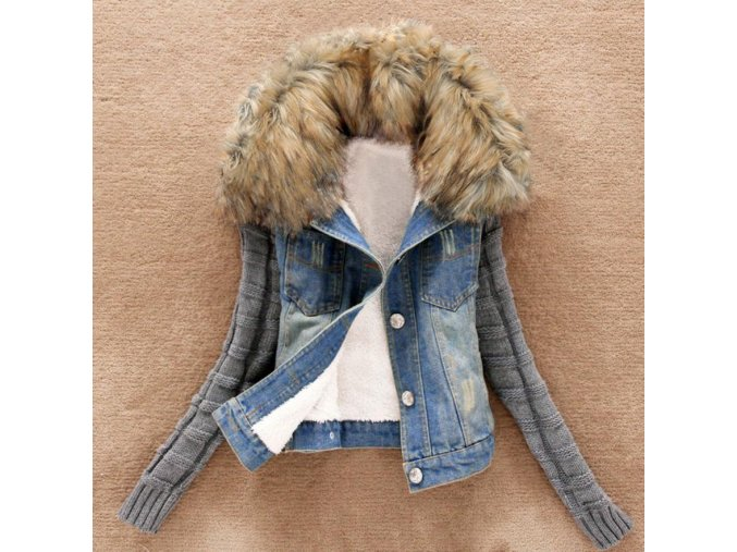 Luxusná džínsová bunda s odopínateľnou kožušinou