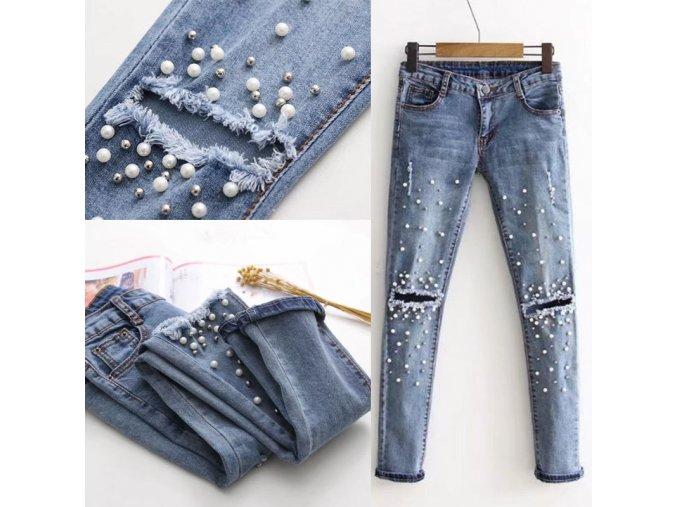 Dámske trhané slim džínsy s perlami