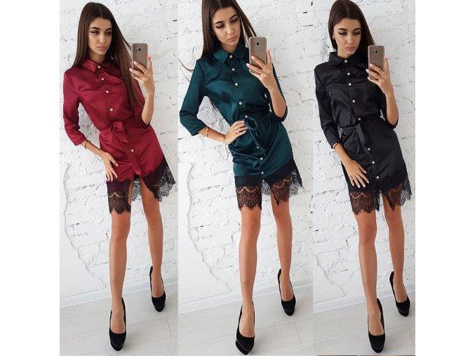 Elegantné košeľové šaty s čipkou