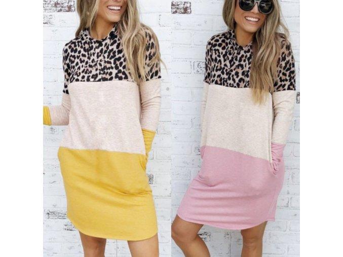 Zaujímavé trojfarebné mikinové šaty