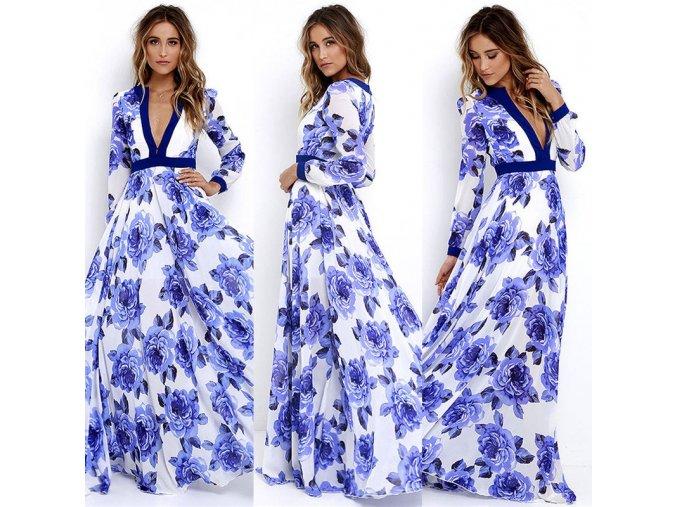 Letné maxišaty s modrými kvetmi