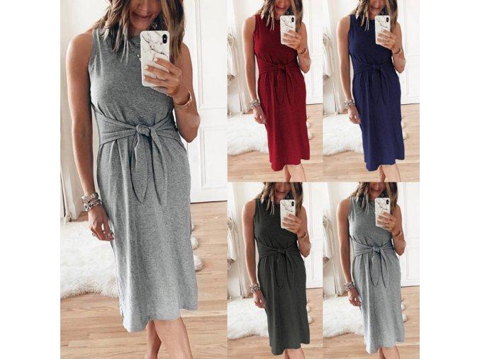 Pohodlné bavlnené letné šaty s uzlom