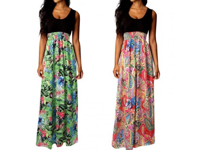 Čierne bavlnené maxišaty s kvetovanou sukňou - 2 varianty