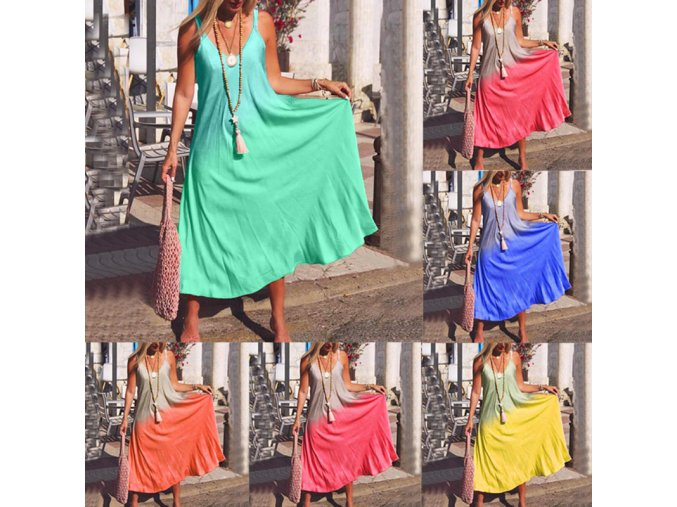 Letné bavlnené ombré šaty