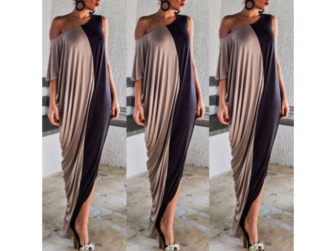 Dvojfarebné zaujímavé asymetrické šaty