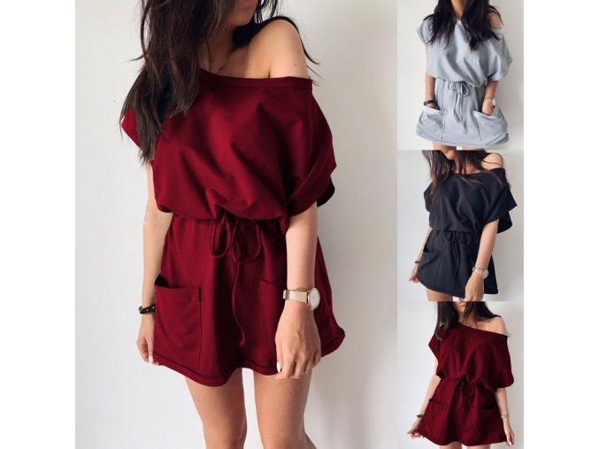 Ľahké teplákové šaty so zaväzovaním v páse