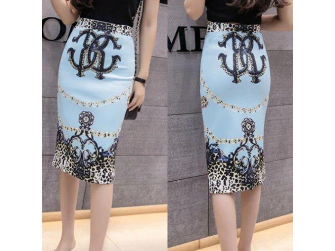 Štýlová tyrkysová sukne s ornamentami