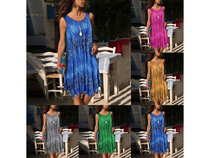 Letné voľné šaty s ornamentami - až 5XL