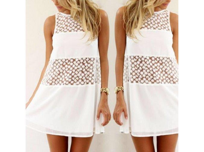 Biele ľahučké letné šaty s transparentnými detailmi