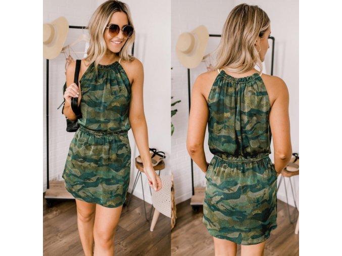 Letné halterneck šaty camouflage