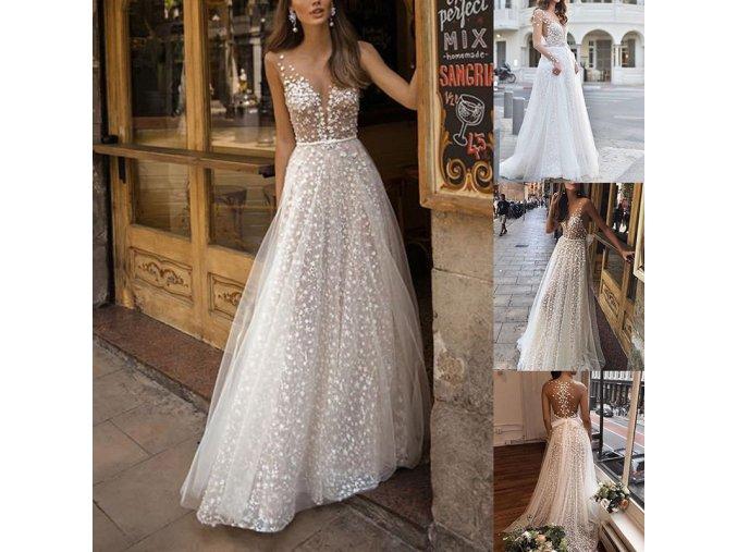 Dychberúci plesové svadobné šaty s aplikáciami