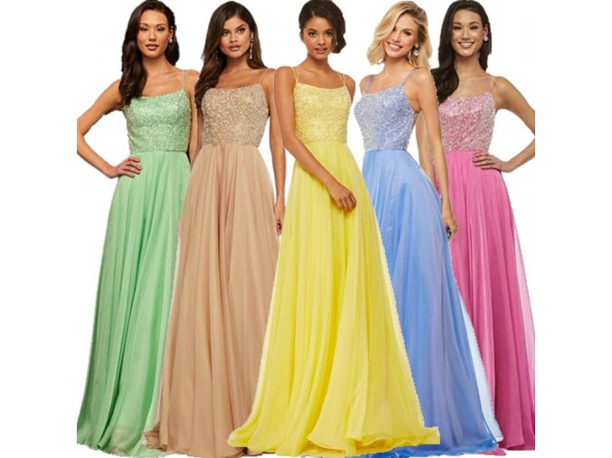Dámske plesové šaty s šifónovou sukňou - 5 farieb