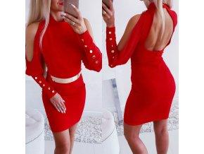 Elegantné červené šaty so zlatými detailmi