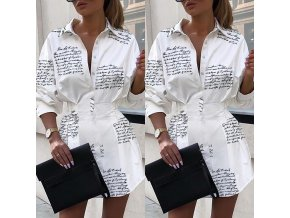 Štýlové HOT košeľové šaty s nápismi