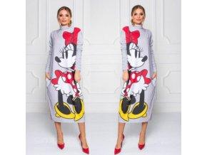 Jesenné midi šaty so stojačikom Mickey Mouse