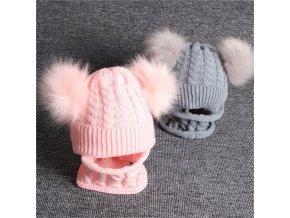 Detský pletený set - čiapka + nákrčník