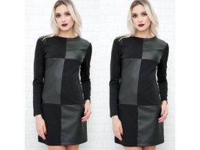 Jesenné čierne šaty s dlhým rukávom