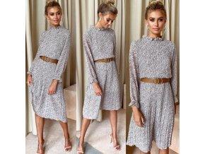 Dámske jesenné šaty s plisé sukňou