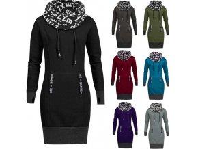 Dámske štýlové mikinové šaty s golierom - 7 farieb až 6XL